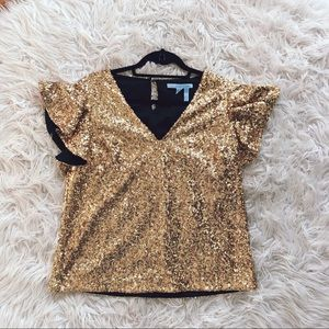 NEW • Draper James • Sequin Gold Holiday Blouse 6